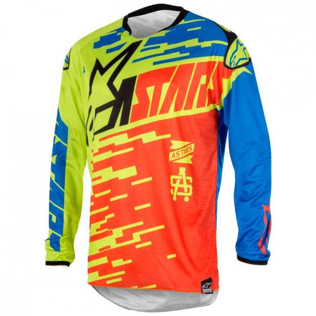 Camisa Alpinestars Racer Braap 16 Vermelho/Azul/Verde Lima