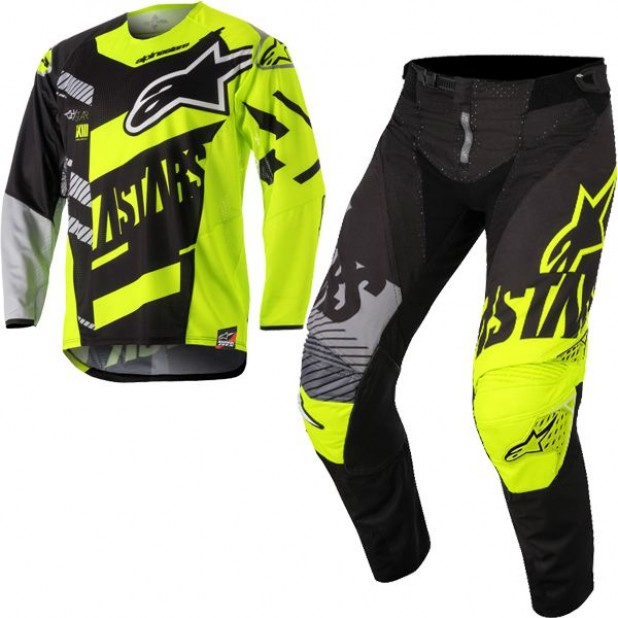 Conjunto ALPINESTARS RACER SCREAMER YOUTH PRETO/AMARELO FLUOR/CINZA