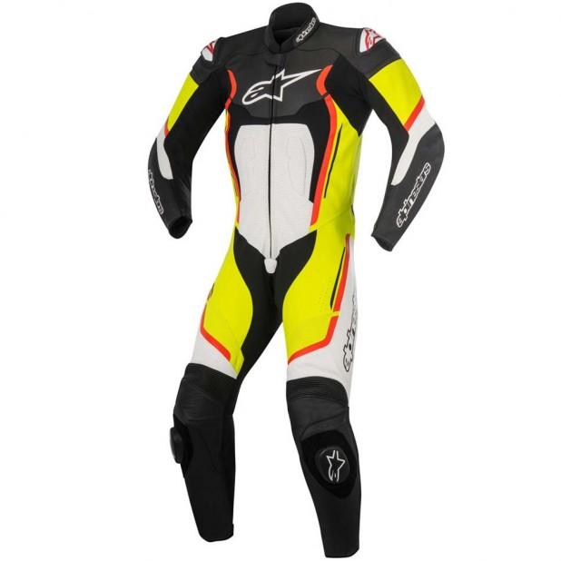 Macacão Racing 1 Peça Alpinestars Motegi V2 - Preto Branco Amarelo e Vermelho
