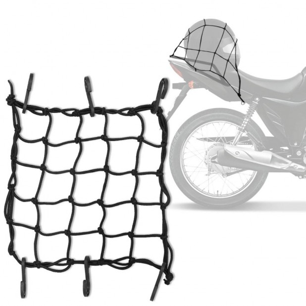 Rede Elástica Aranha Capacete Bagageiro Preto 35 x 35cm